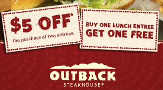 picture regarding Outback Coupons Printable named BOGO Absolutely free Outback Steakhouse Discount codes $5 off 2 Entrees