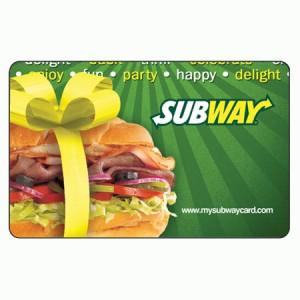 Subway 10 dollar card
