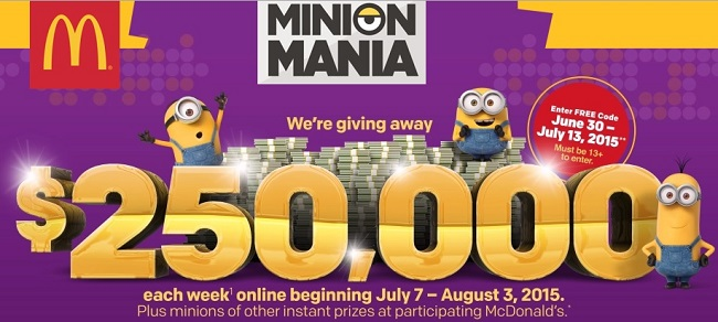 minions at mcdonalds com sweepstakes www mcdonalds instant win 1483