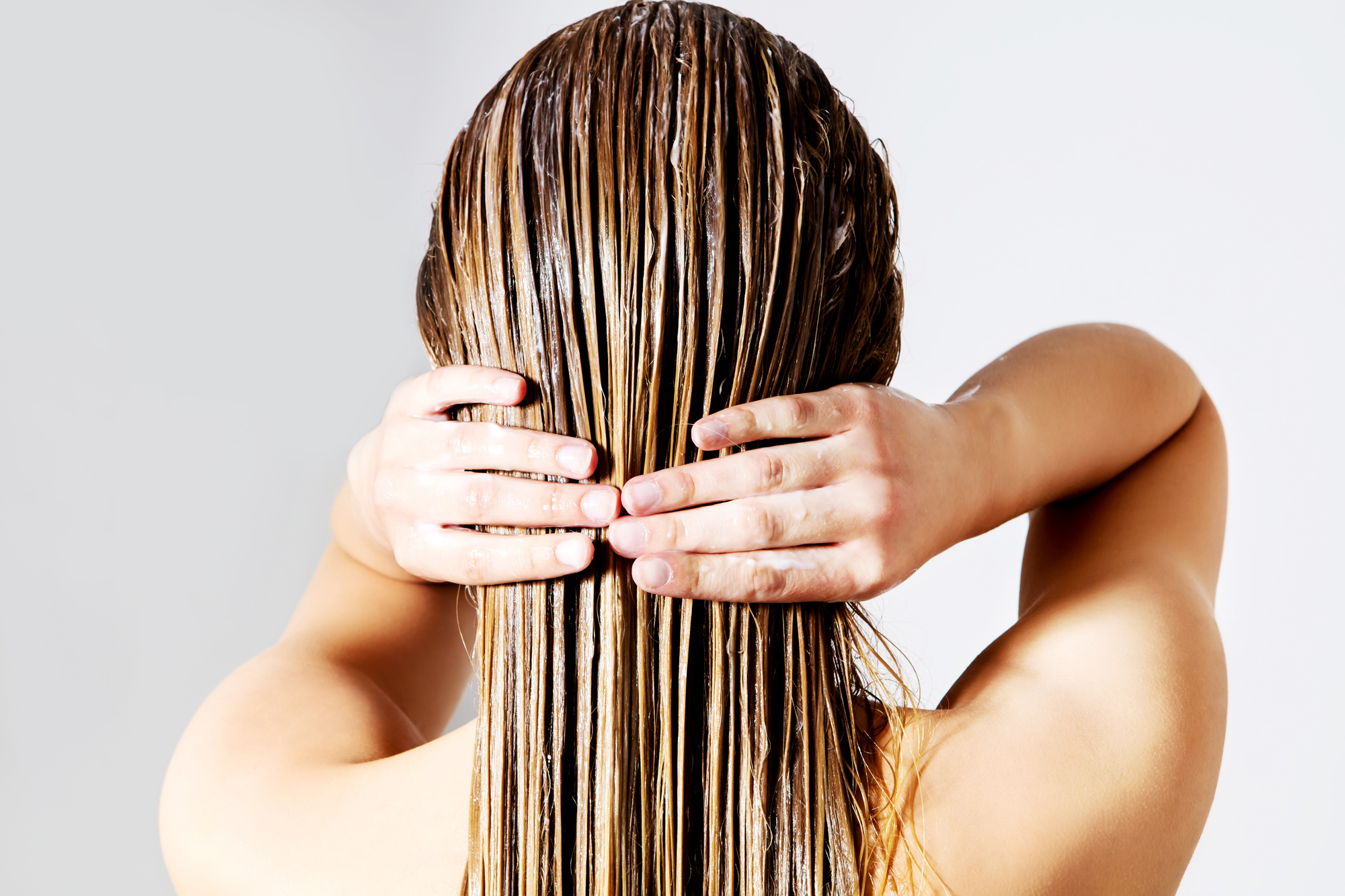 woman treating hair
