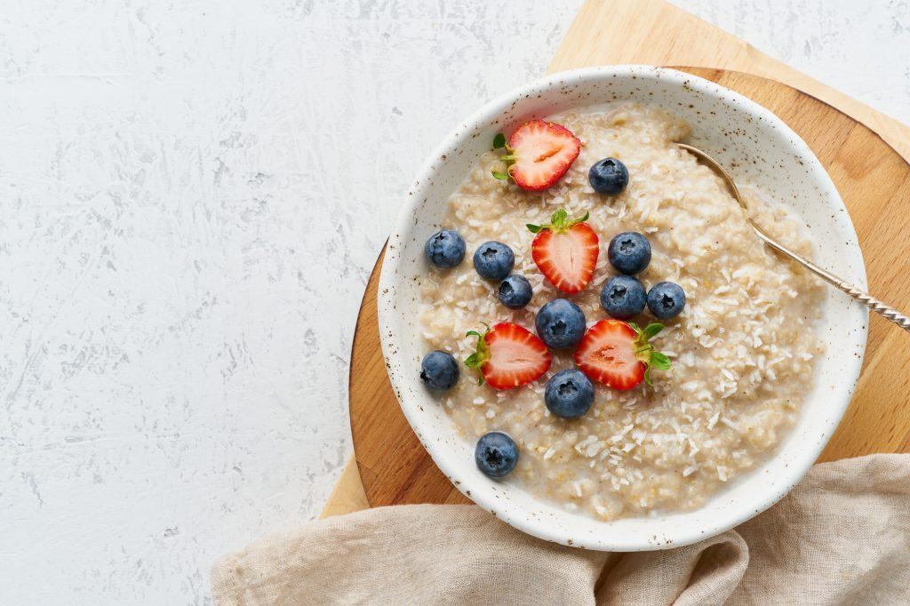 oatmeal in bowl with spoon