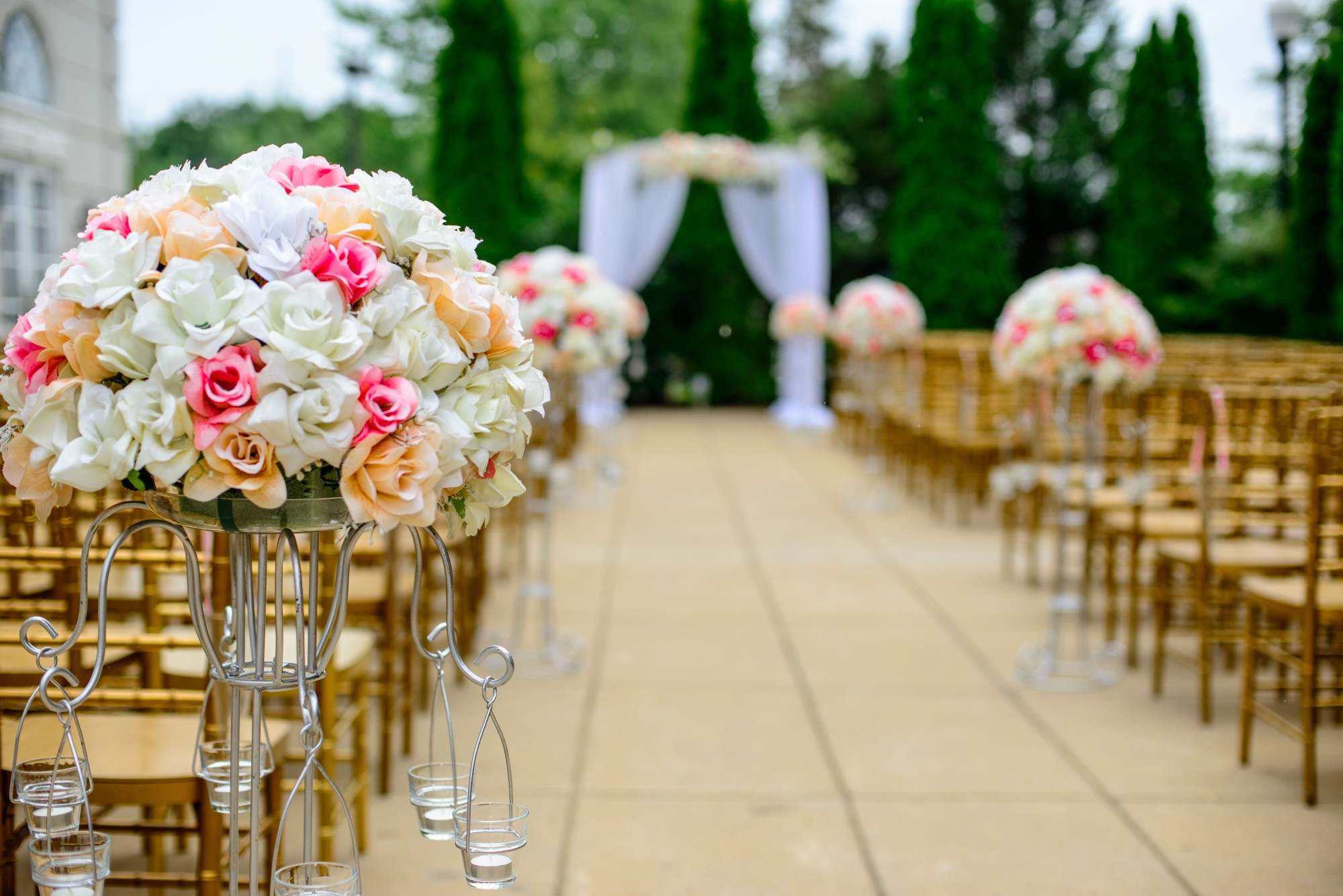 Outdoor Wedding With Wooden Chairs