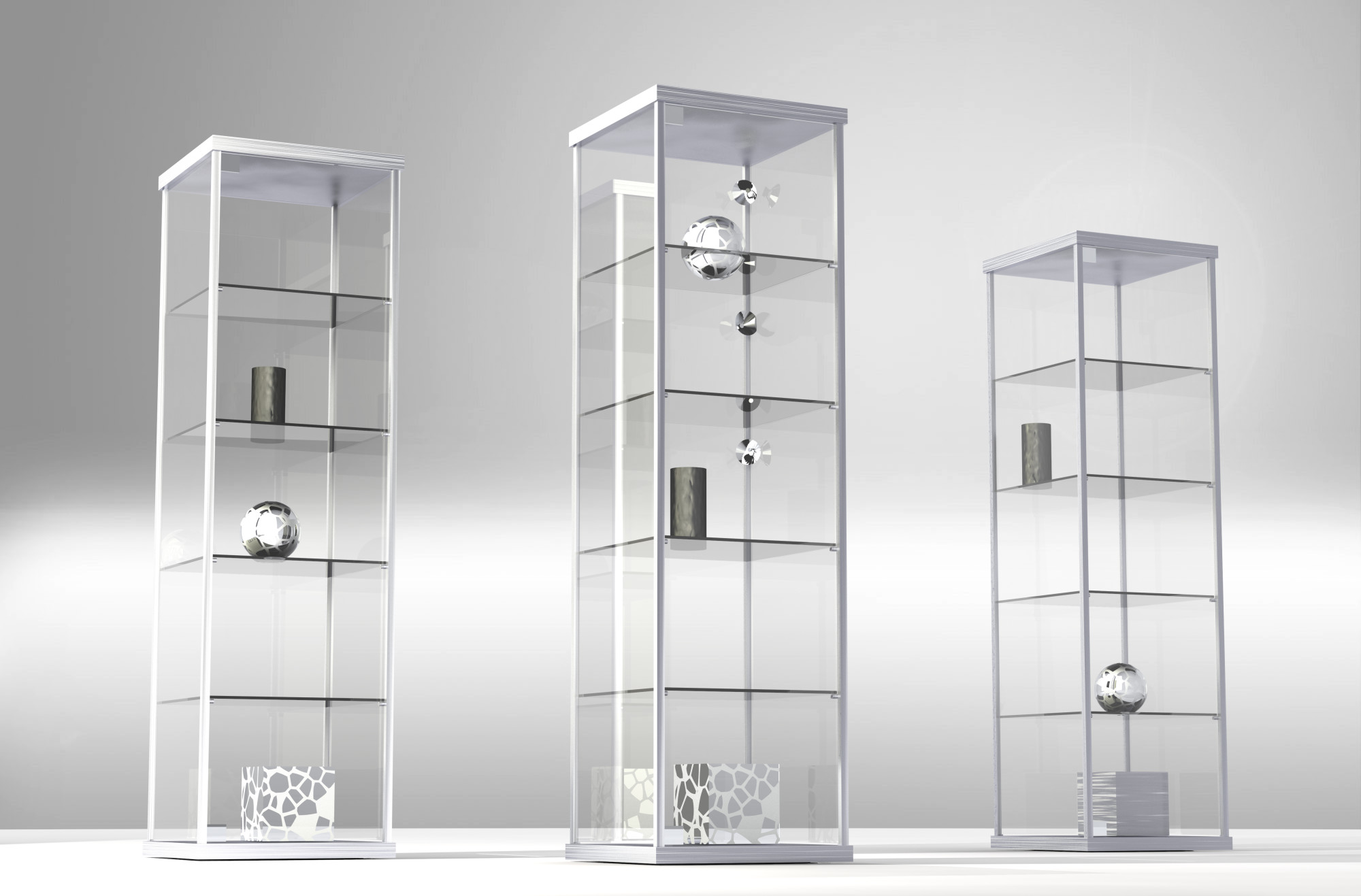 Art Storage Clear Glass Cabinets