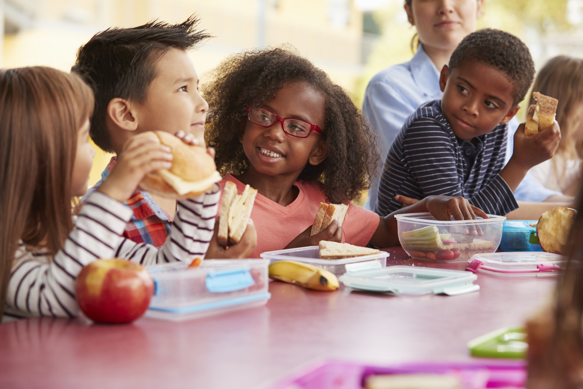 Kids Eating Lunch from Prepared Lunchboxes